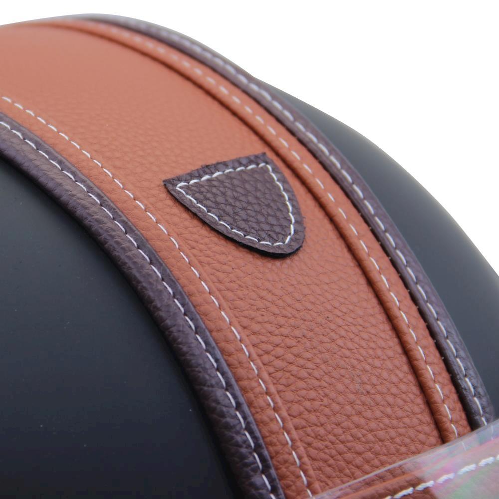 helm motorrad mofa roller matt schwarz mit leder braun neu. Black Bedroom Furniture Sets. Home Design Ideas