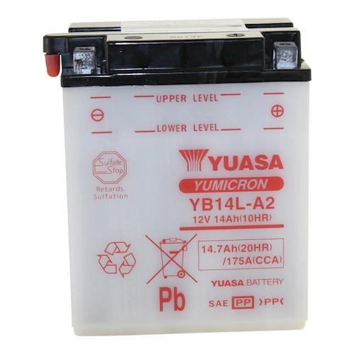 BATTERIA-YUASA-yb14l-a2-12v-14ah-per-HONDA-CB-750-K-FOUR-cb750-anno-1969-1976 miniatura 2