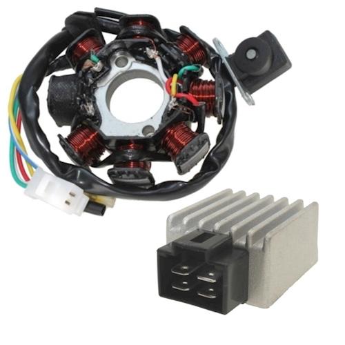 Lichtmaschine-und-Spannungsregler-fuer-Yamaha-XV-535-H-Virago-Typ-2YL-Bj-88-98