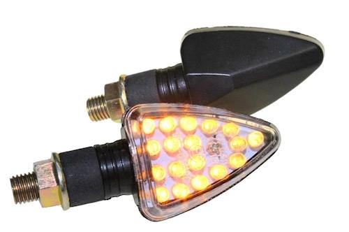LED Mini Blinker Set Arrow schwarz klar M10 für Suzuki GS 500 E T Bj.96 vorne