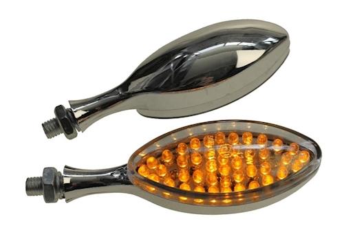 NEU-Blinker-LED-12V-3W-chrom-klar-E-geprueft-M10-fuer-Motorrad