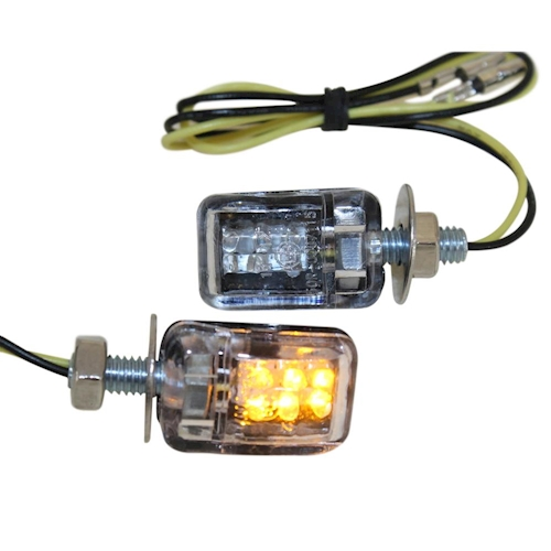 LED Mini Blinker Set Benni schwarz klar E-geprüft M6 für Motorrad Simson NEU