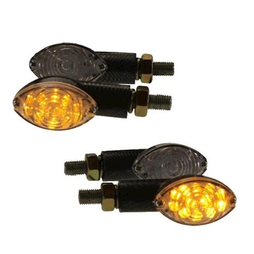 4x-Motocicleta-Mini-luz-intermitente-12v-LED-arken-CARBONO-TRANSPARENTE