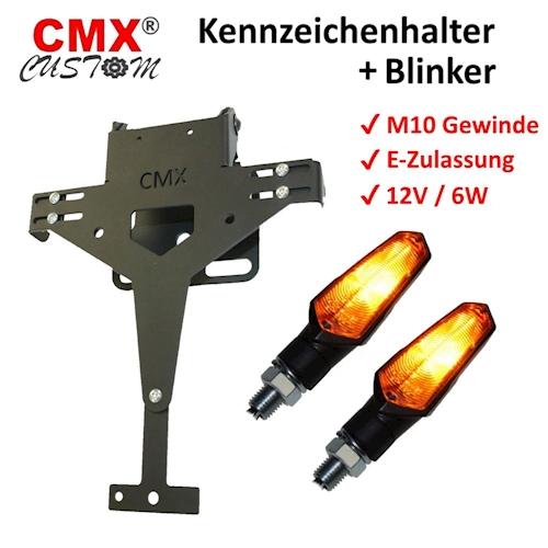 CMX-PORTATARGA-V1-forati-con-Lampeggiatore-alogeno-Nel-set