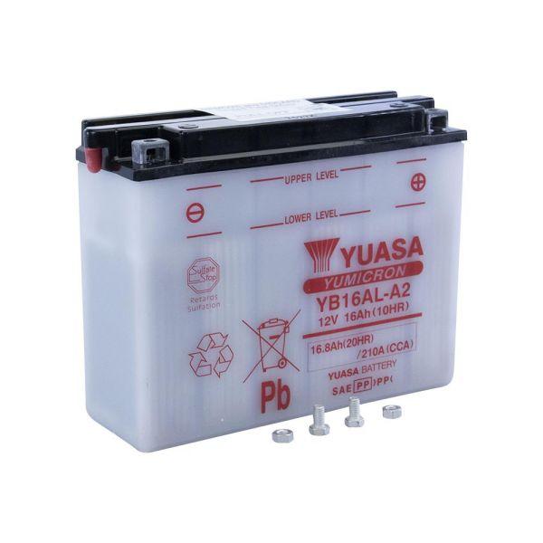 YUASA wartungsfreie Batterie YB16AL-A2 12V/16.8Ah offen für z. B. Ducati 748 916 (164808)