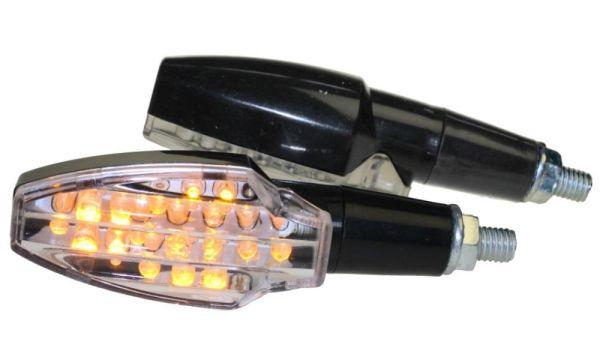 Motorrad Mini Blinker LED Soto schwarz klar E-geprüft M8 (163709)