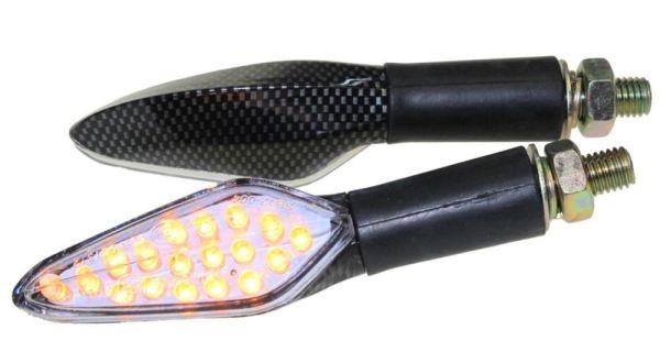 Motorrad Mini Blinker LED Shower carbon klar E-geprüft (163667)