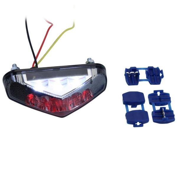 LED Rücklicht mit Kennzeichenbeleuchtung getönt hinten Motorrad Quad Roller (166200)