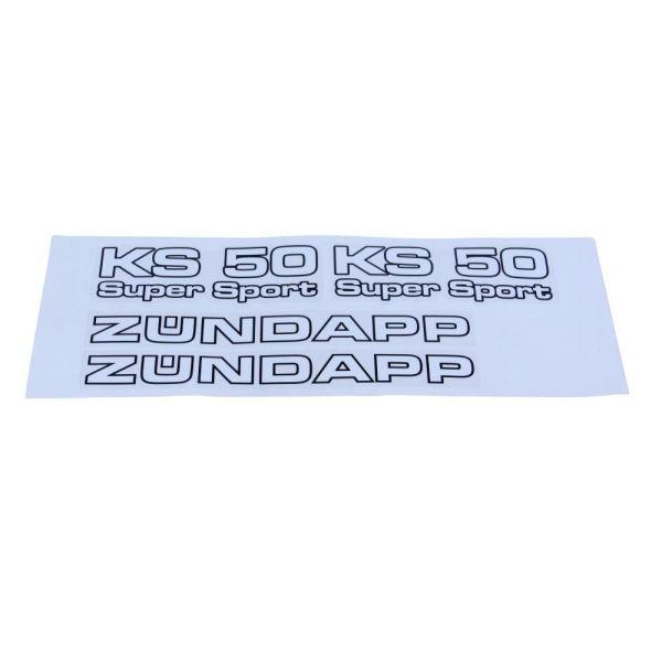 """Aufkleber Satz Seitendeckel """"KS 50 Super Sport"""" """"Zündapp"""" für Zündapp KS 50 Super Sport (757368)"""