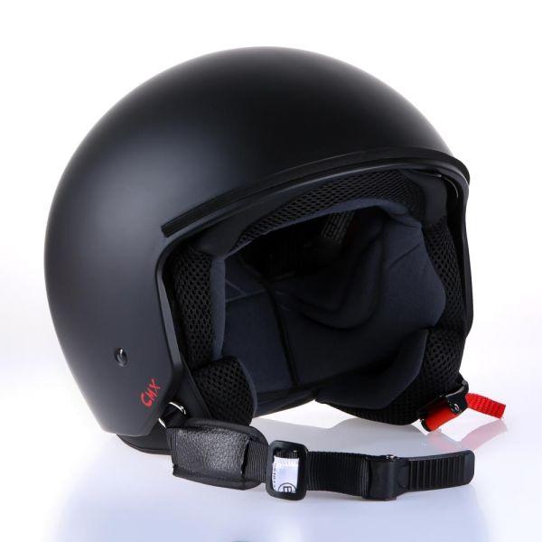 "Motorradhelm Jethelm Rollerhelm CMX /""Hazel/"" matt schwarz m Leder braun Größe L"