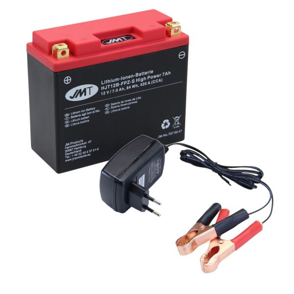 Batterie Lithium Ionen 12V/7Ah wartungsfrei HJT12B-FPZ-S Citomerx mit Ladegerät für Roller/Motorrad (1640691)