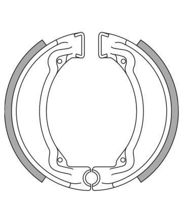 Bremsbacken NewFren Typ GF.1188 (1 Satz a 2 Stück) für CPI Popcorn, Yamaha DT50, Honda CN250 Helix . (801188)