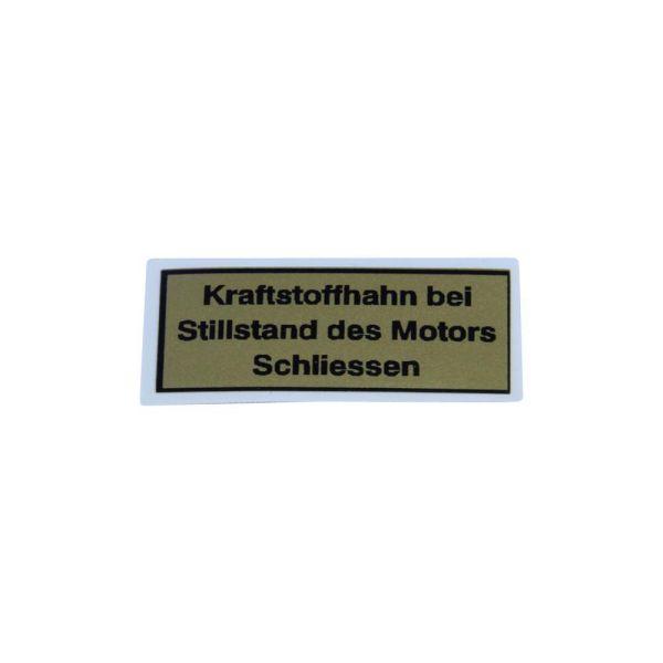 """Aufkleber Tank """"Kraftstoffhahn bei Stillstand des Motors schliessen"""" für Zündapp Typ 515, 517 (768327)"""